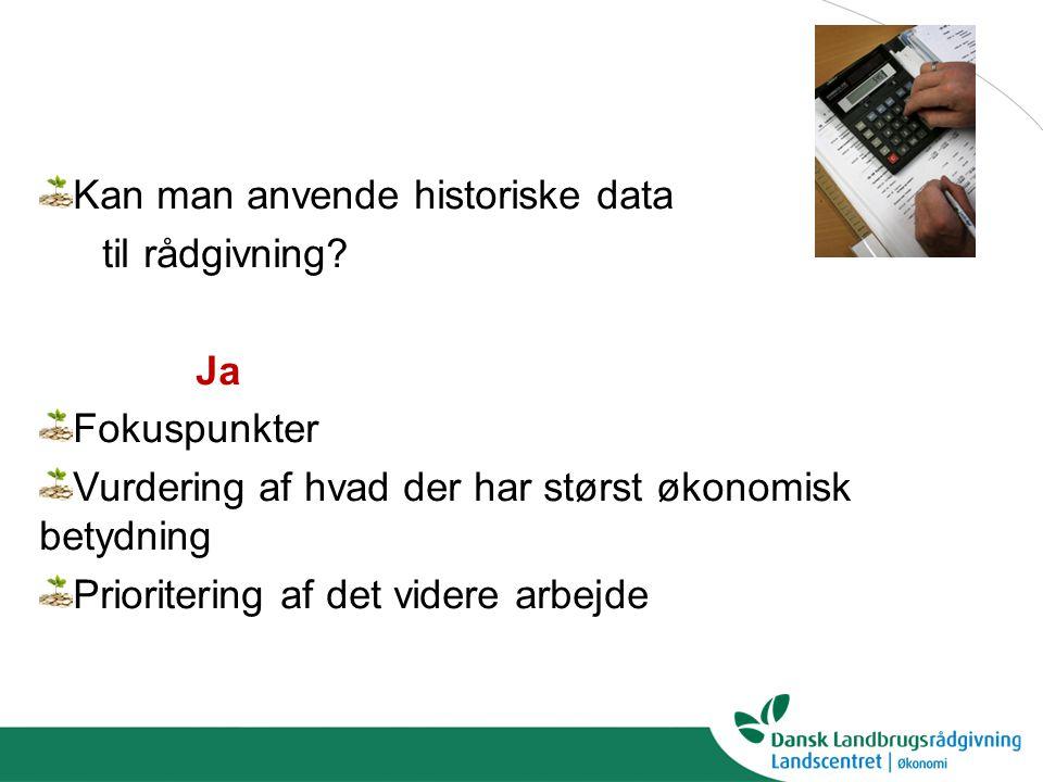 Kan man anvende historiske data til rådgivning.