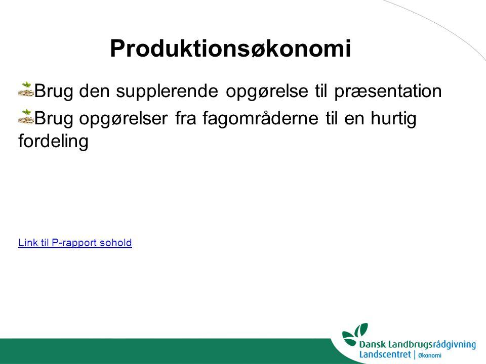 Brug den supplerende opgørelse til præsentation Brug opgørelser fra fagområderne til en hurtig fordeling Link til P-rapport sohold Produktionsøkonomi