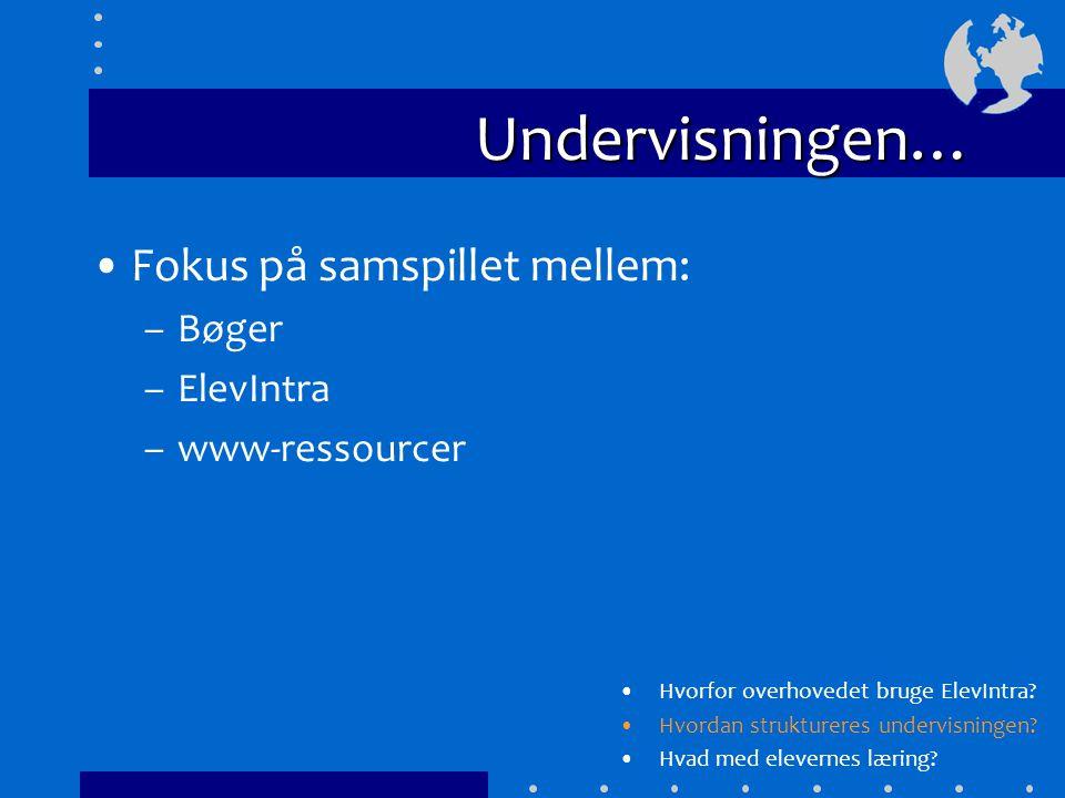 Undervisningen… Fokus på samspillet mellem: –Bøger –ElevIntra –www-ressourcer Hvorfor overhovedet bruge ElevIntra.