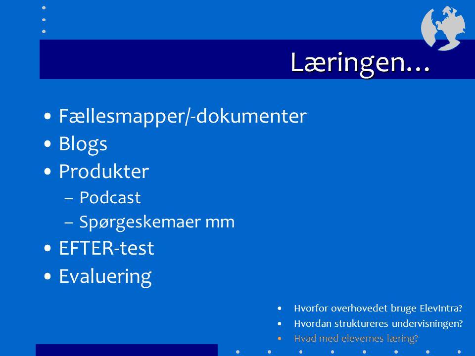 Læringen… Fællesmapper/-dokumenter Blogs Produkter –Podcast –Spørgeskemaer mm EFTER-test Evaluering Hvorfor overhovedet bruge ElevIntra.