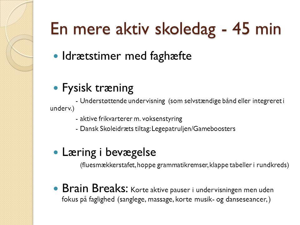 En mere aktiv skoledag - 45 min Idrætstimer med faghæfte Fysisk træning - Understøttende undervisning (som selvstændige bånd eller integreret i underv.) - aktive frikvarterer m.