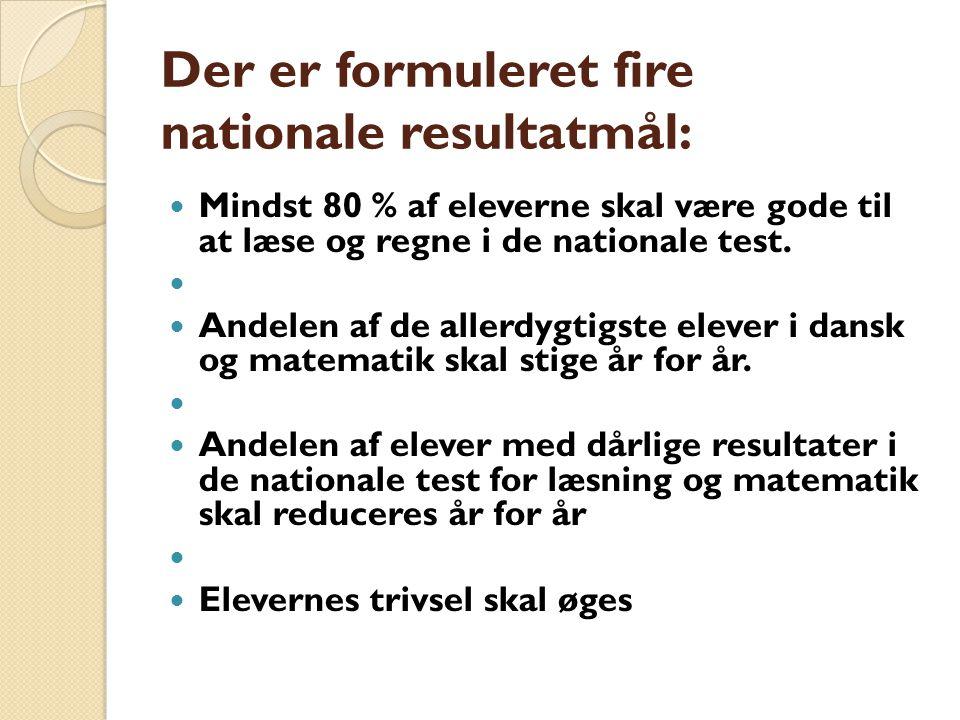Der er formuleret fire nationale resultatmål: Mindst 80 % af eleverne skal være gode til at læse og regne i de nationale test.