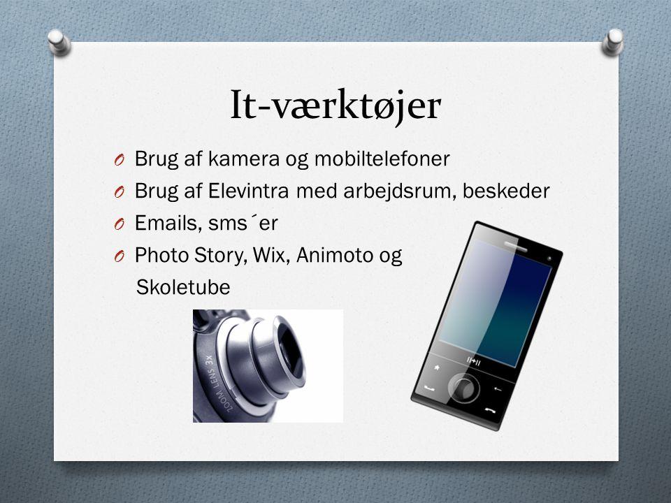 It-værktøjer O Brug af kamera og mobiltelefoner O Brug af Elevintra med arbejdsrum, beskeder O Emails, sms´er O Photo Story, Wix, Animoto og Skoletube