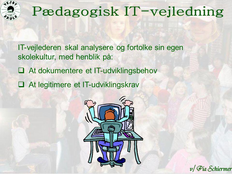 IT-vejlederen skal analysere og fortolke sin egen skolekultur, med henblik på:  At dokumentere et IT-udviklingsbehov  At legitimere et IT-udviklingskrav