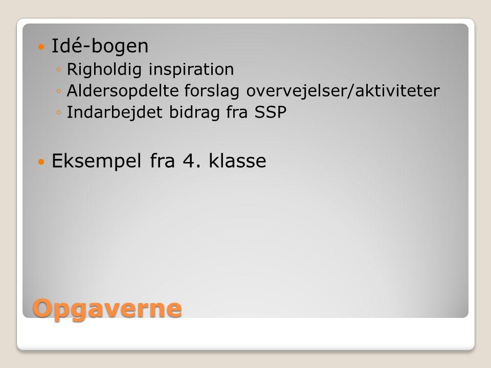 Opgaverne Idé-bogen ◦Righoldig inspiration ◦Aldersopdelte forslag overvejelser/aktiviteter ◦Indarbejdet bidrag fra SSP Eksempel fra 4.
