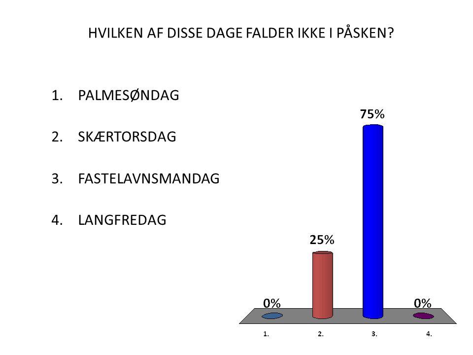 HVILKEN AF DISSE DAGE FALDER IKKE I PÅSKEN.