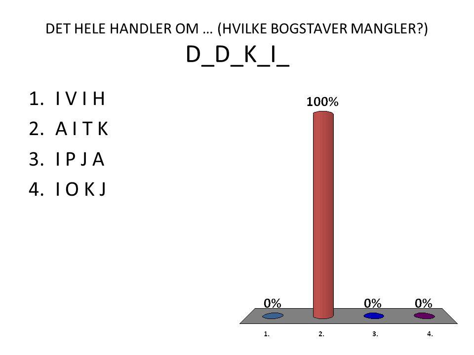 DET HELE HANDLER OM … (HVILKE BOGSTAVER MANGLER ) D_D_K_I_ 1.I V I H 2.A I T K 3.I P J A 4.I O K J