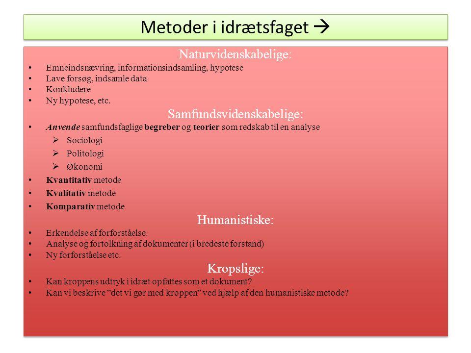 Metoder i idrætsfaget  Naturvidenskabelige: Emneindsnævring, informationsindsamling, hypotese Lave forsøg, indsamle data Konkludere Ny hypotese, etc.