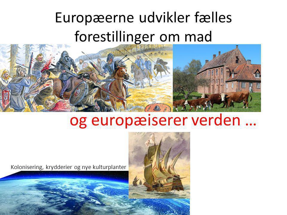 Europæerne udvikler fælles forestillinger om mad og europæiserer verden … Kolonisering, krydderier og nye kulturplanter