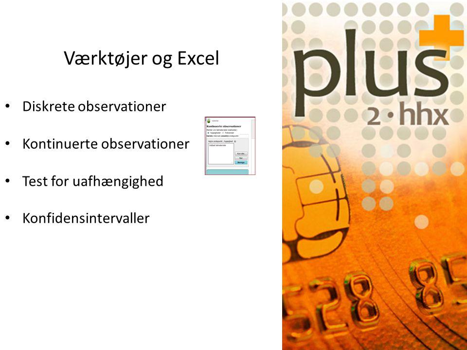 Diskrete observationer Kontinuerte observationer Test for uafhængighed Konfidensintervaller Værktøjer og Excel