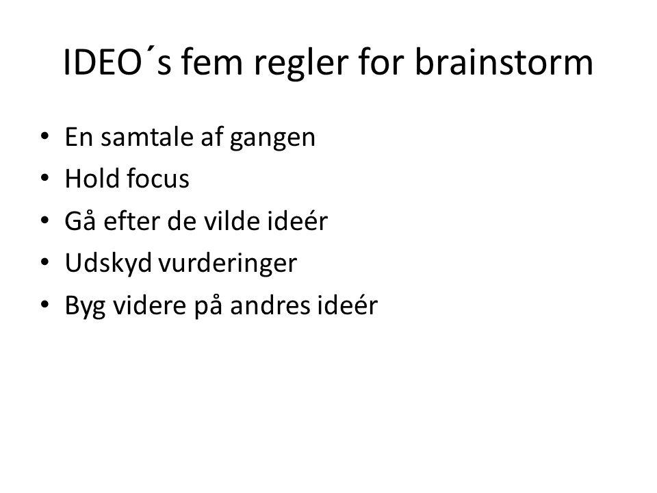 IDEO´s fem regler for brainstorm En samtale af gangen Hold focus Gå efter de vilde ideér Udskyd vurderinger Byg videre på andres ideér
