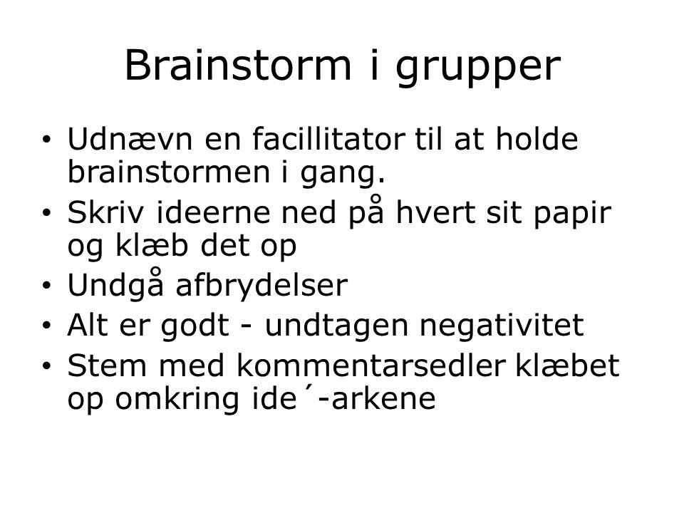 Brainstorm i grupper Udnævn en facillitator til at holde brainstormen i gang.