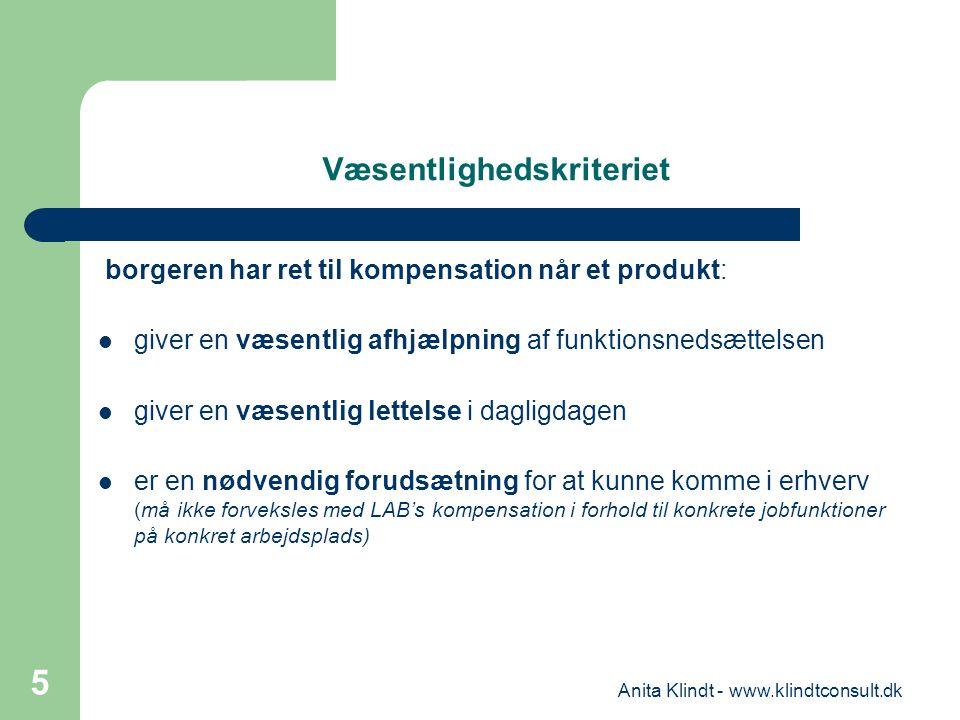 Væsentlighedskriteriet borgeren har ret til kompensation når et produkt: giver en væsentlig afhjælpning af funktionsnedsættelsen giver en væsentlig le