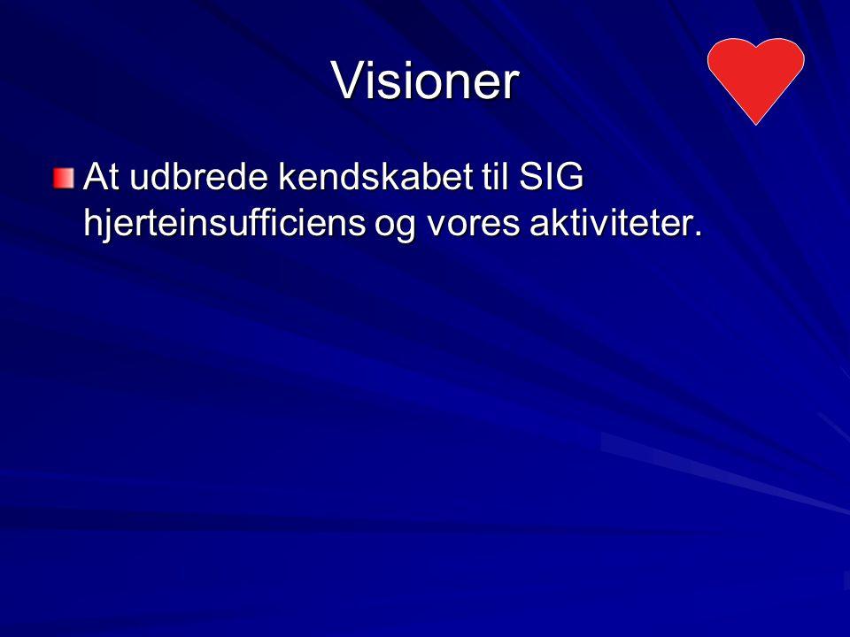 Visioner At udbrede kendskabet til SIG hjerteinsufficiens og vores aktiviteter.