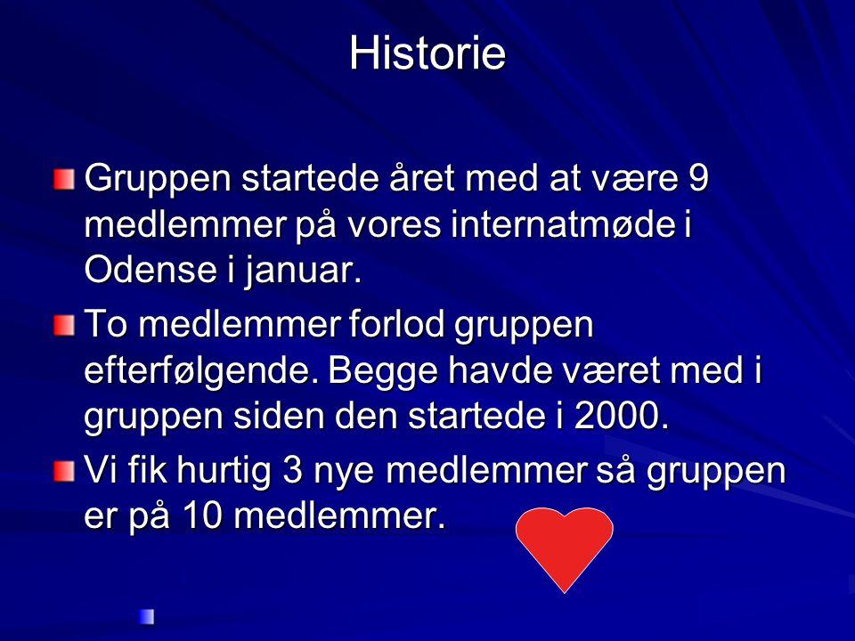 Historie Gruppen startede året med at være 9 medlemmer på vores internatmøde i Odense i januar.