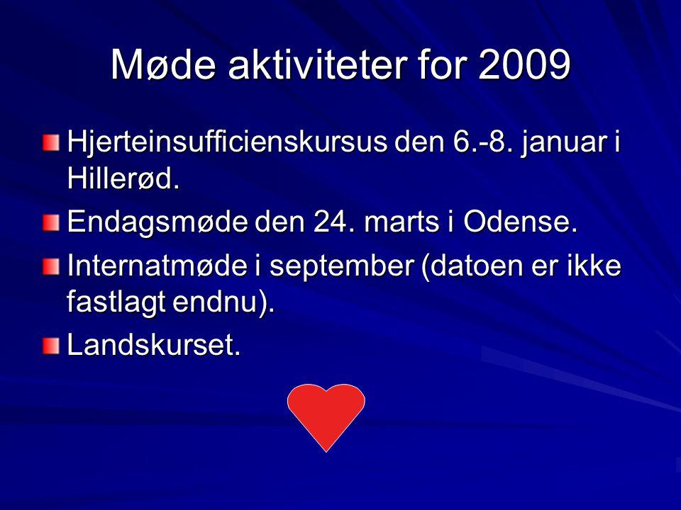 Møde aktiviteter for 2009 Hjerteinsufficienskursus den 6.-8.