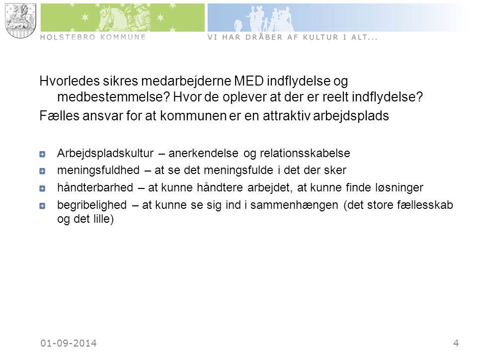 01-09-20144 Hvorledes sikres medarbejderne MED indflydelse og medbestemmelse.