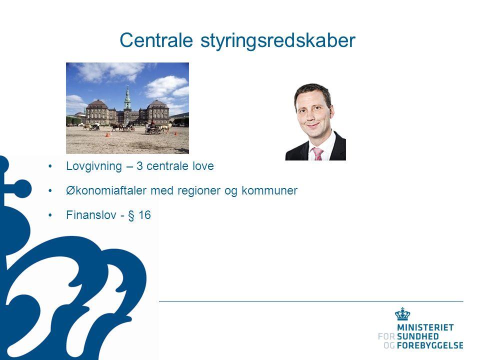Centrale styringsredskaber Lovgivning – 3 centrale love Økonomiaftaler med regioner og kommuner Finanslov - § 16