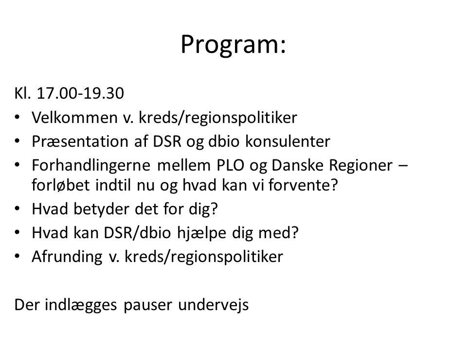 Program: Kl. 17.00-19.30 Velkommen v.