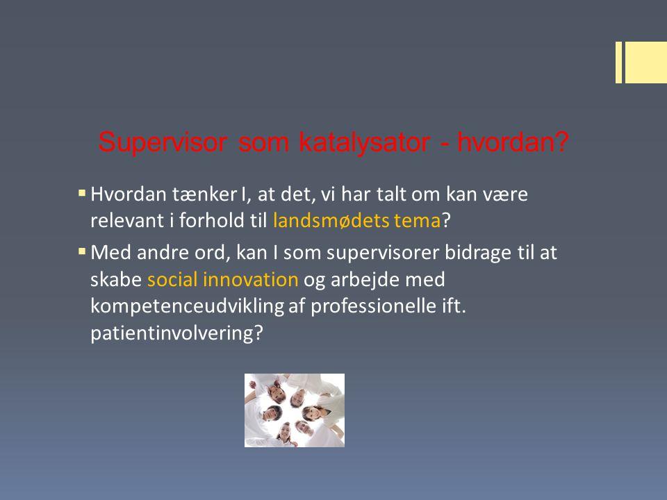 Supervisor som katalysator - hvordan.