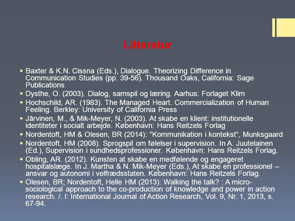 Litteratur  Baxter & K.N. Cissna (Eds.), Dialogue.