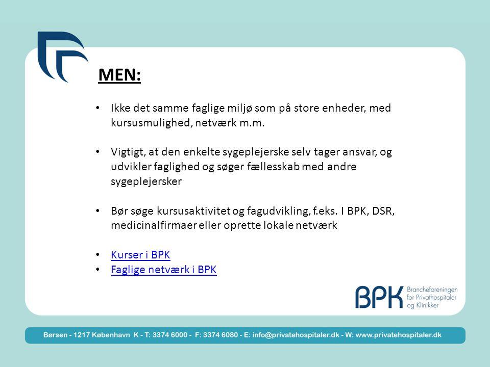 MEN: Ikke det samme faglige miljø som på store enheder, med kursusmulighed, netværk m.m.