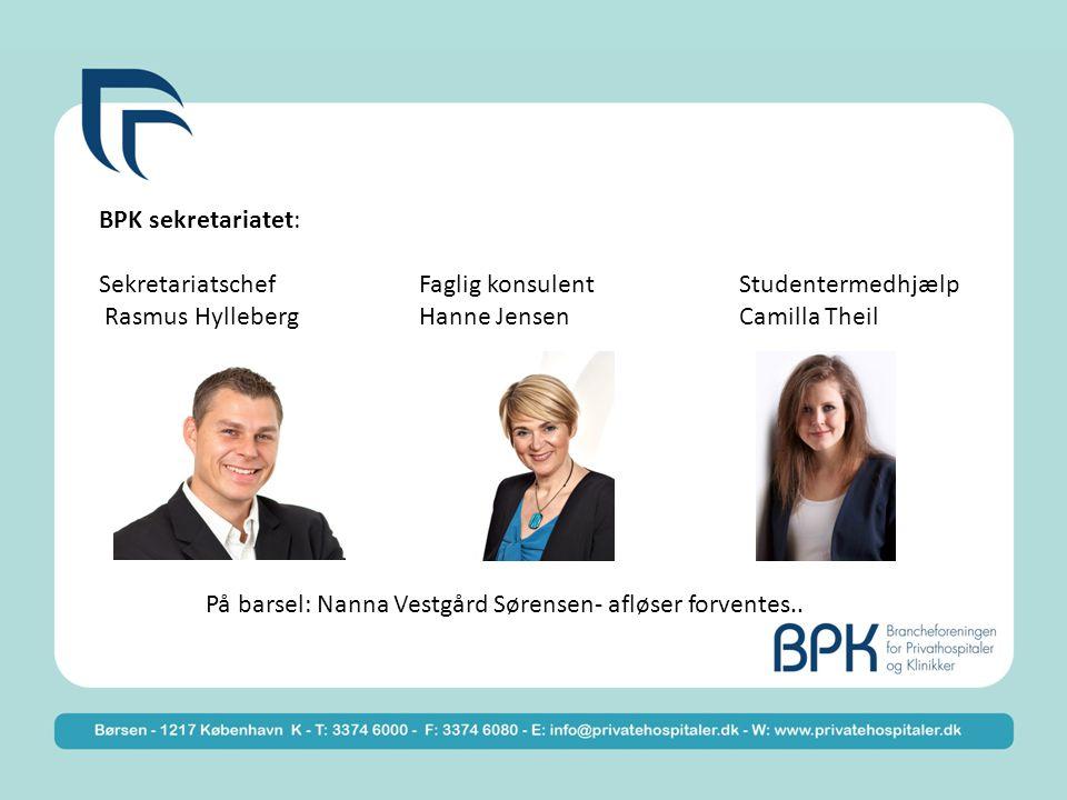 BPK sekretariatet: SekretariatschefFaglig konsulentStudentermedhjælp Rasmus HyllebergHanne JensenCamilla Theil På barsel: Nanna Vestgård Sørensen- afløser forventes..