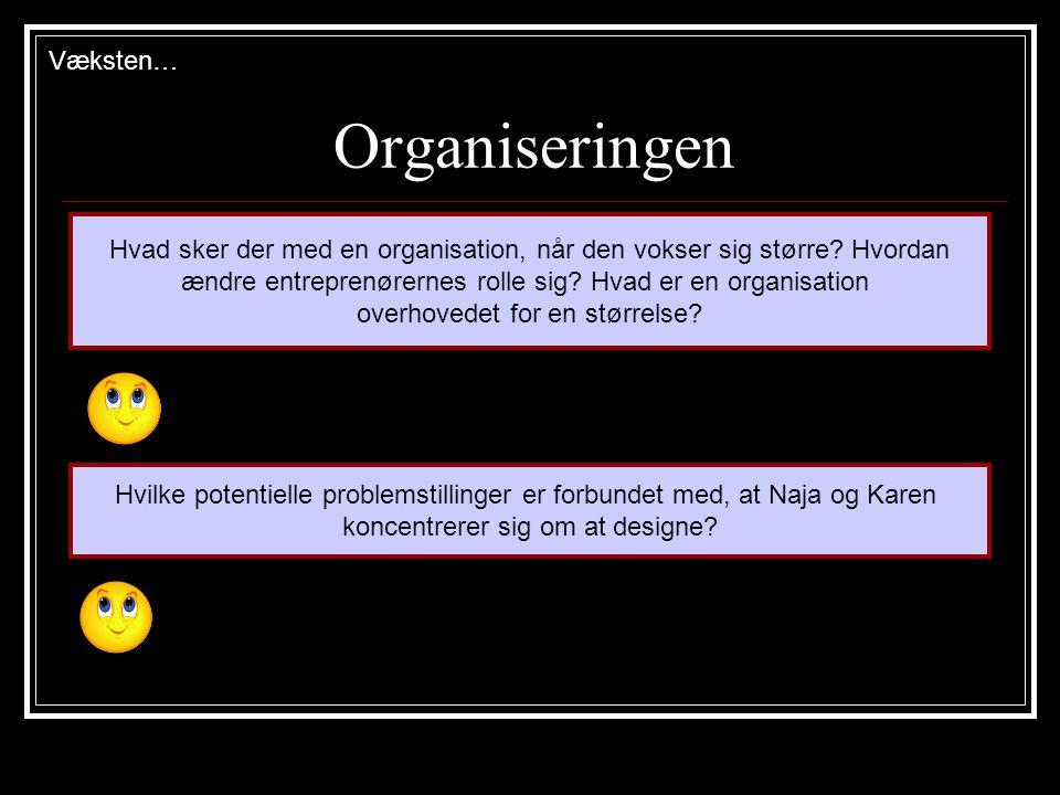 Organiseringen Hvad sker der med en organisation, når den vokser sig større.