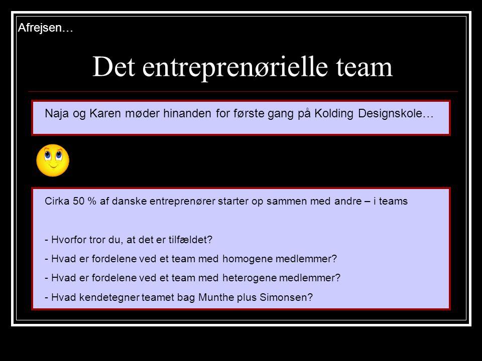 Det entreprenørielle team Cirka 50 % af danske entreprenører starter op sammen med andre – i teams - Hvorfor tror du, at det er tilfældet.