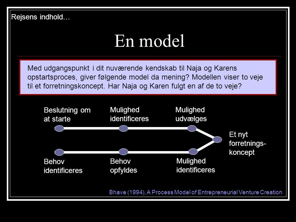 En model Rejsens indhold… Med udgangspunkt i dit nuværende kendskab til Naja og Karens opstartsproces, giver følgende model da mening.