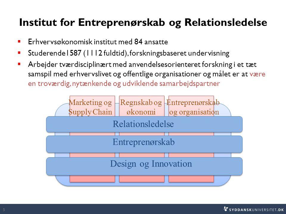 Institut for Entreprenørskab og Relationsledelse  Erhvervsøkonomisk institut med 84 ansatte  Studerende1587 (1112 fuldtid), forskningsbaseret undervisning  Arbejder tværdisciplinært med anvendelsesorienteret forskning i et tæt samspil med erhvervslivet og offentlige organisationer og målet er at være en troværdig, nytænkende og udviklende samarbejdspartner 5 Relationsledelse Entreprenørskab Design og Innovation Marketing og Supply Chain Regnskab og økonomi Entreprenørskab og organisation