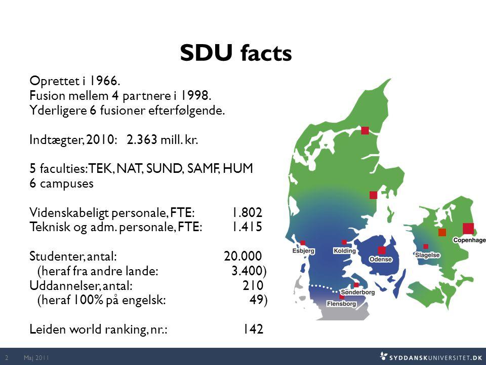 Maj 20112 SDU facts Oprettet i 1966. Fusion mellem 4 partnere i 1998.
