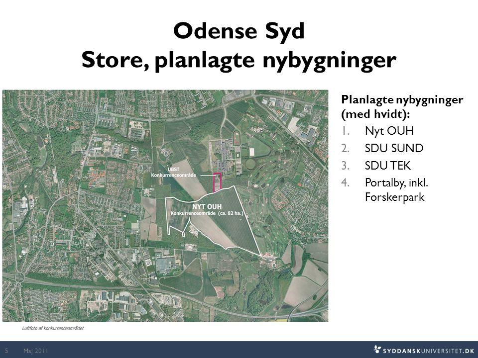 Odense Syd Store, planlagte nybygninger Maj 20115 Planlagte nybygninger (med hvidt): 1.Nyt OUH 2.SDU SUND 3.SDU TEK 4.Portalby, inkl.
