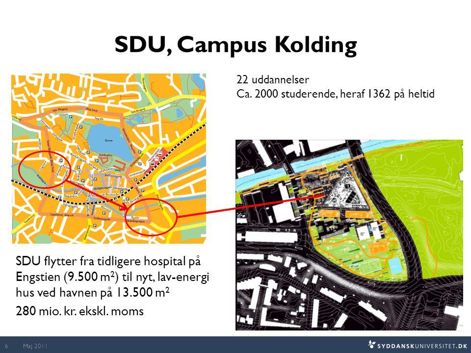 SDU, Campus Kolding SDU flytter fra tidligere hospital på Engstien (9.500 m 2 ) til nyt, lav-energi hus ved havnen på 13.500 m 2 280 mio.