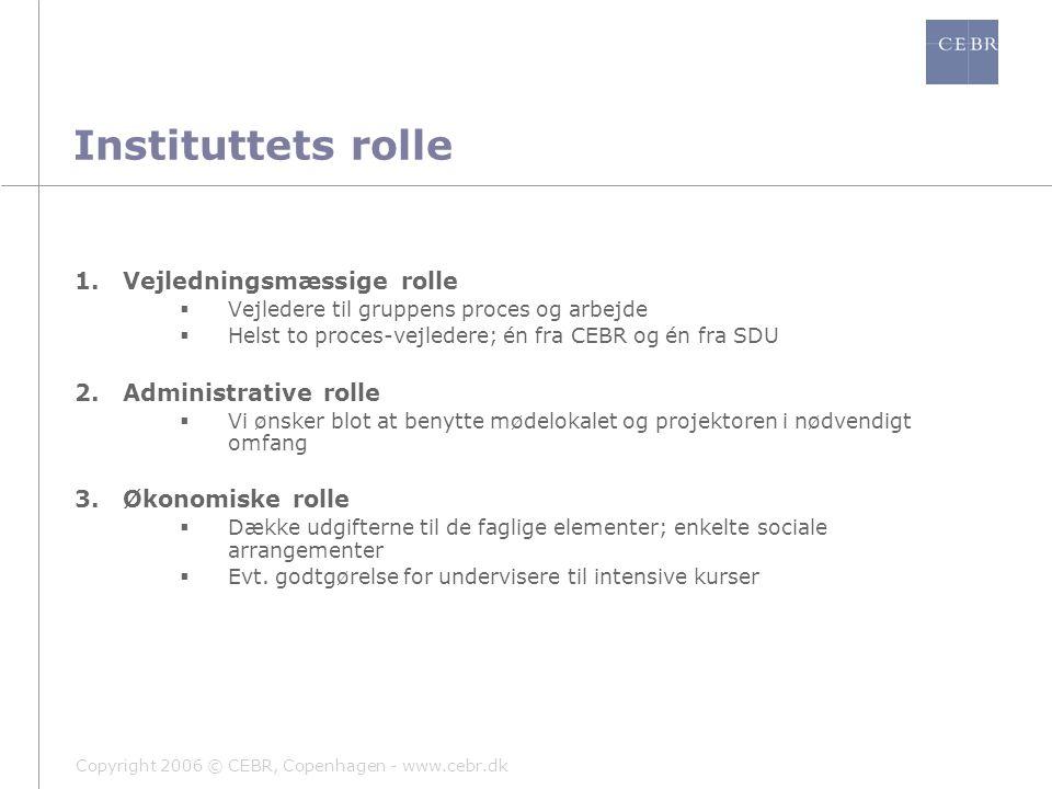 Copyright 2006 © CEBR, Copenhagen - www.cebr.dk Instituttets rolle 1.Vejledningsmæssige rolle  Vejledere til gruppens proces og arbejde  Helst to proces-vejledere; én fra CEBR og én fra SDU 2.Administrative rolle  Vi ønsker blot at benytte mødelokalet og projektoren i nødvendigt omfang 3.Økonomiske rolle  Dække udgifterne til de faglige elementer; enkelte sociale arrangementer  Evt.