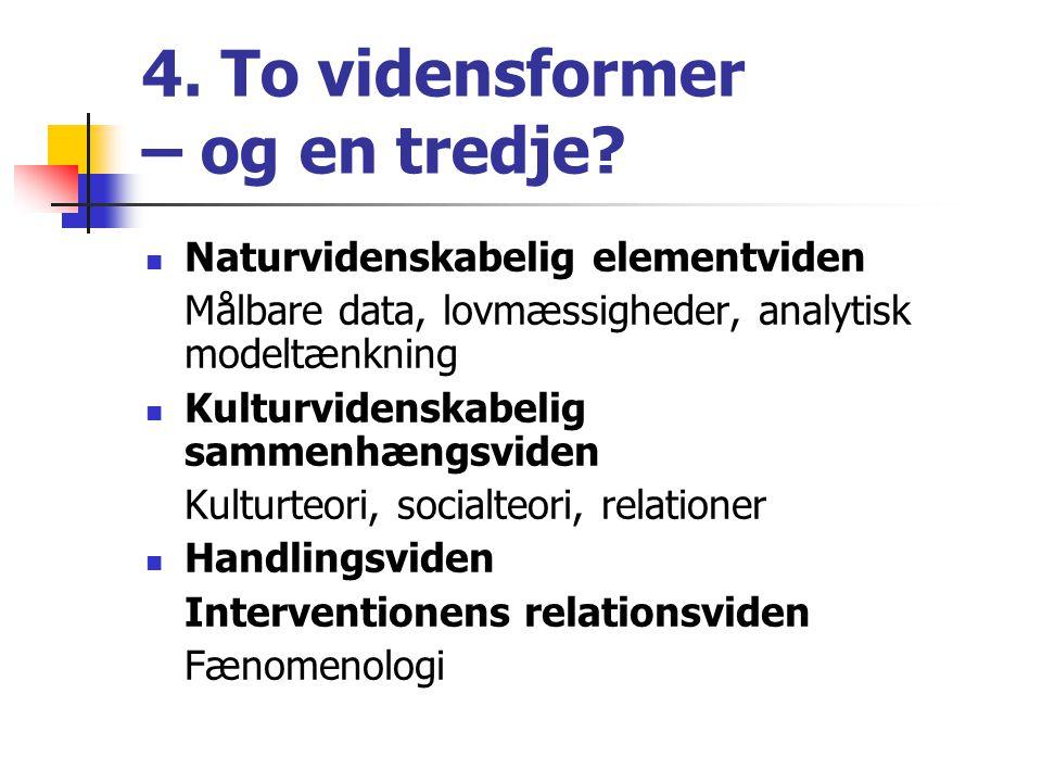 4. To vidensformer – og en tredje.