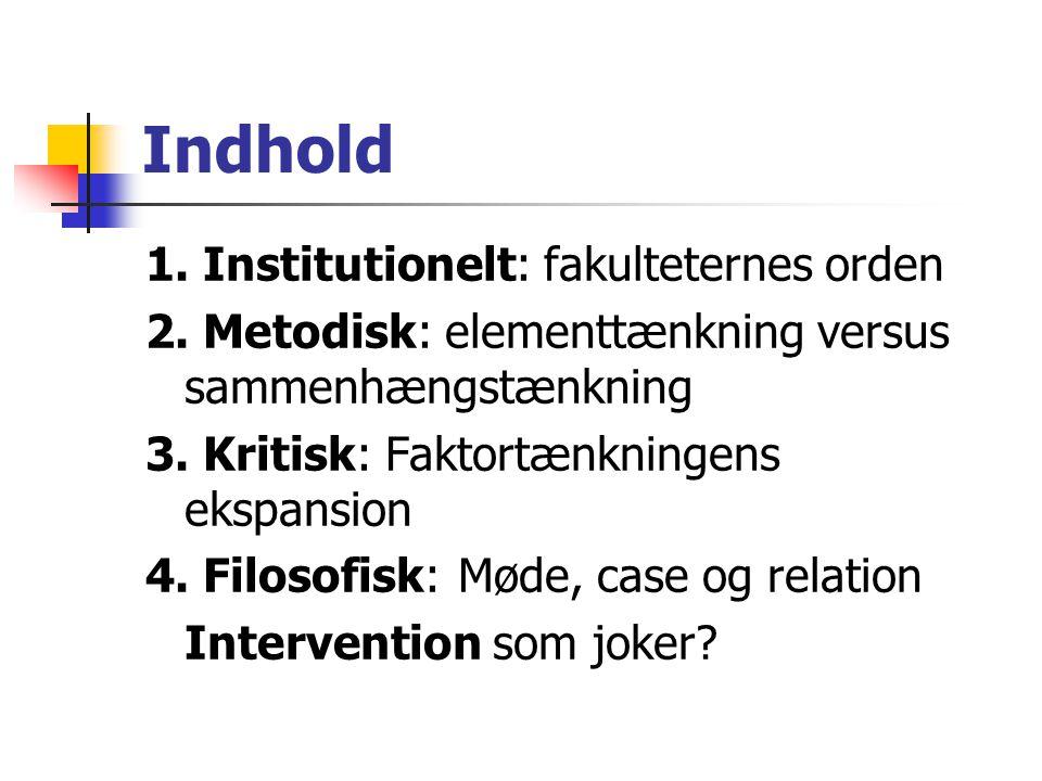 Indhold 1. Institutionelt: fakulteternes orden 2.