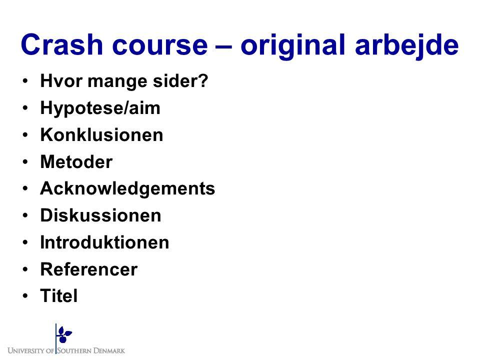 Crash course – original arbejde Hvor mange sider.