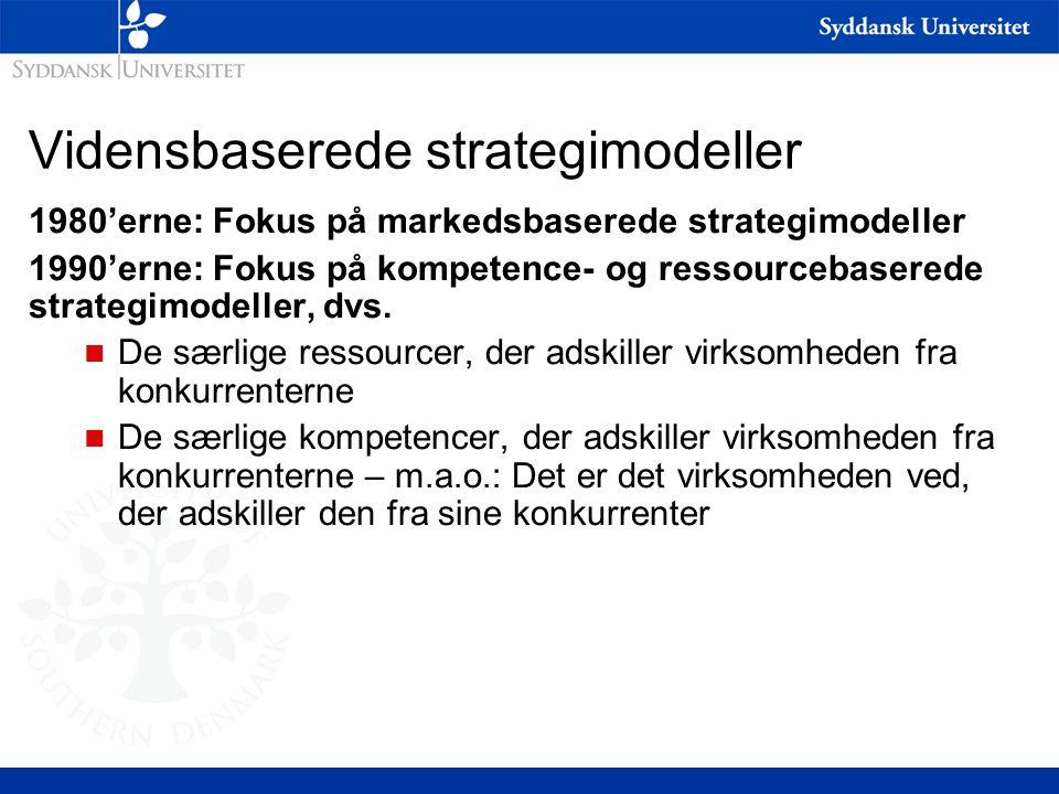 Vidensbaserede strategimodeller 1980'erne: Fokus på markedsbaserede strategimodeller 1990'erne: Fokus på kompetence- og ressourcebaserede strategimodeller, dvs.