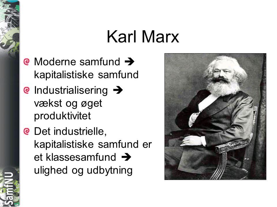 SAMFNU Karl Marx Moderne samfund  kapitalistiske samfund Industrialisering  vækst og øget produktivitet Det industrielle, kapitalistiske samfund er