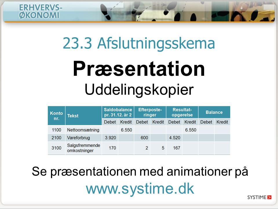 23.3 Afslutningsskema Præsentation Uddelingskopier Se præsentationen med animationer på www.systime.dk