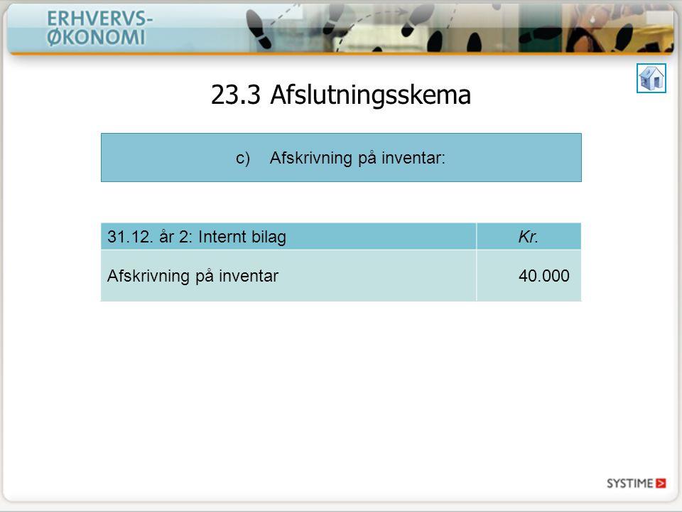 c)Afskrivning på inventar: 31.12. år 2: Internt bilagKr.