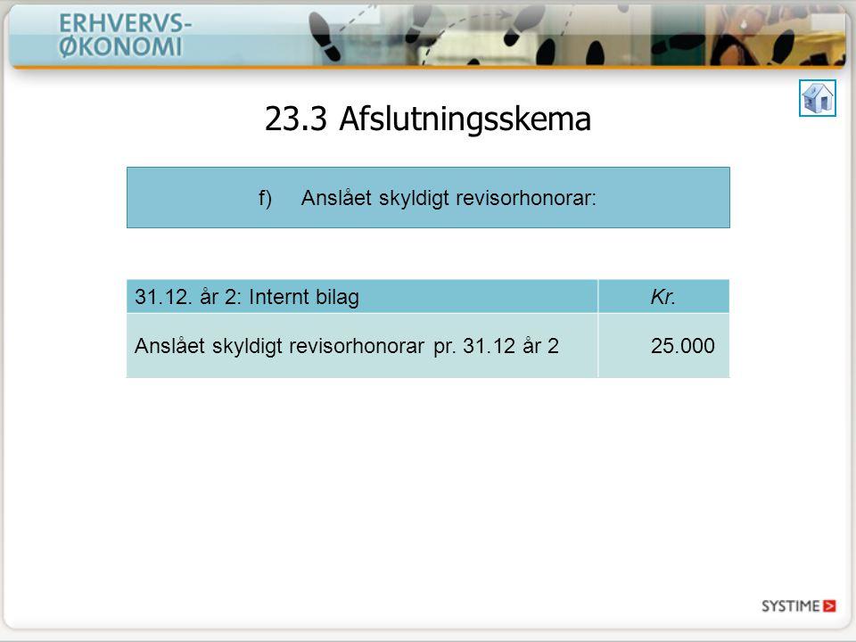 f)Anslået skyldigt revisorhonorar: 31.12. år 2: Internt bilagKr.