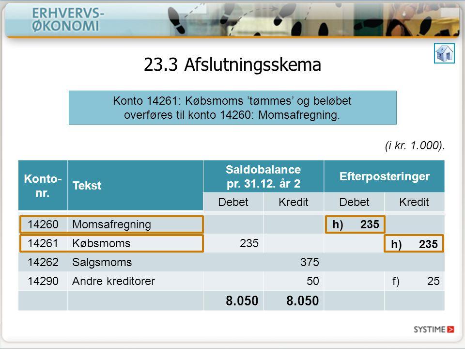 12.5 Opstilling af årsregnskabet Til brug for dette udskrives en saldobalance, der er en oversigt over saldiene på alle virksomhedens konti.