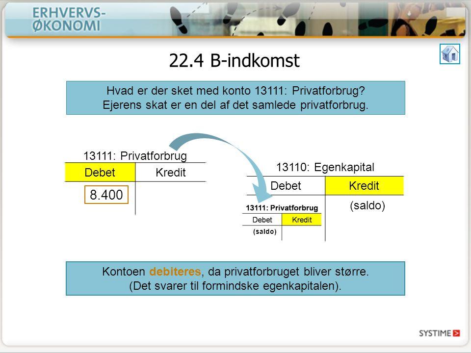 22.4 B-indkomst Hvad er der sket med konto 13111: Privatforbrug.