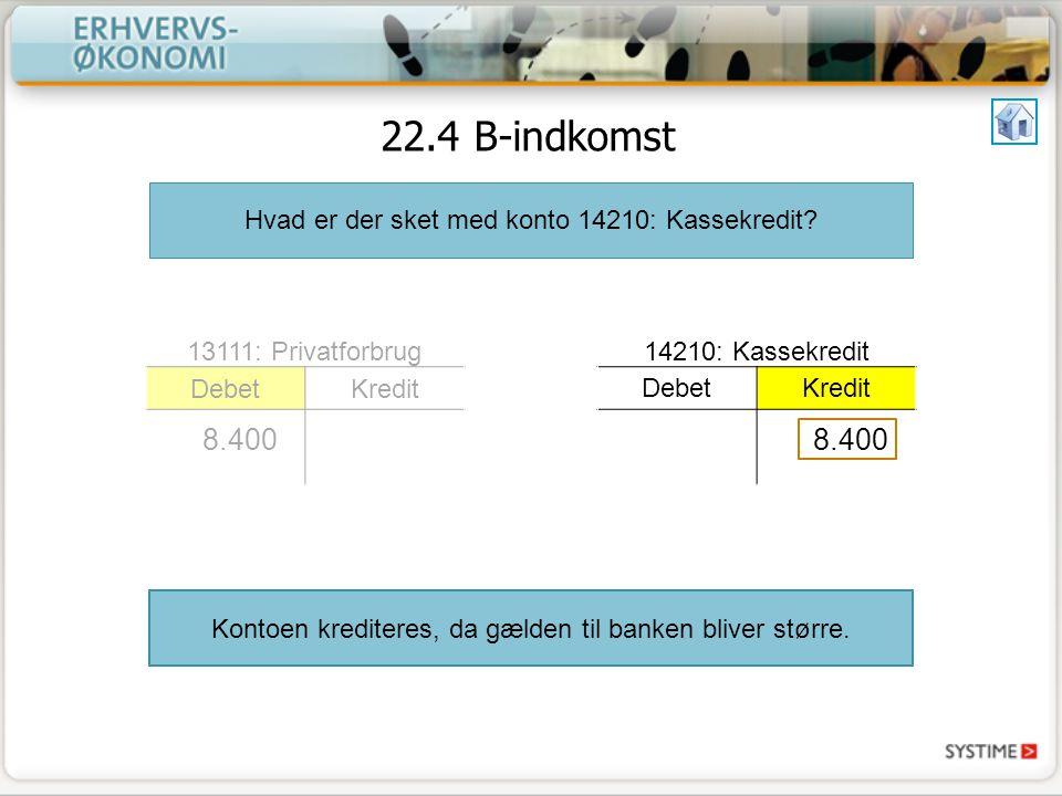 22.4 B-indkomst Hvad er der sket med konto 14210: Kassekredit.