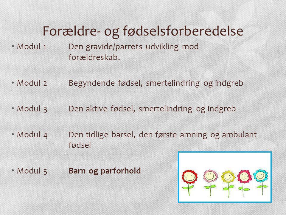 Forældre- og fødselsforberedelse Modul 1 Den gravide/parrets udvikling mod forældreskab.