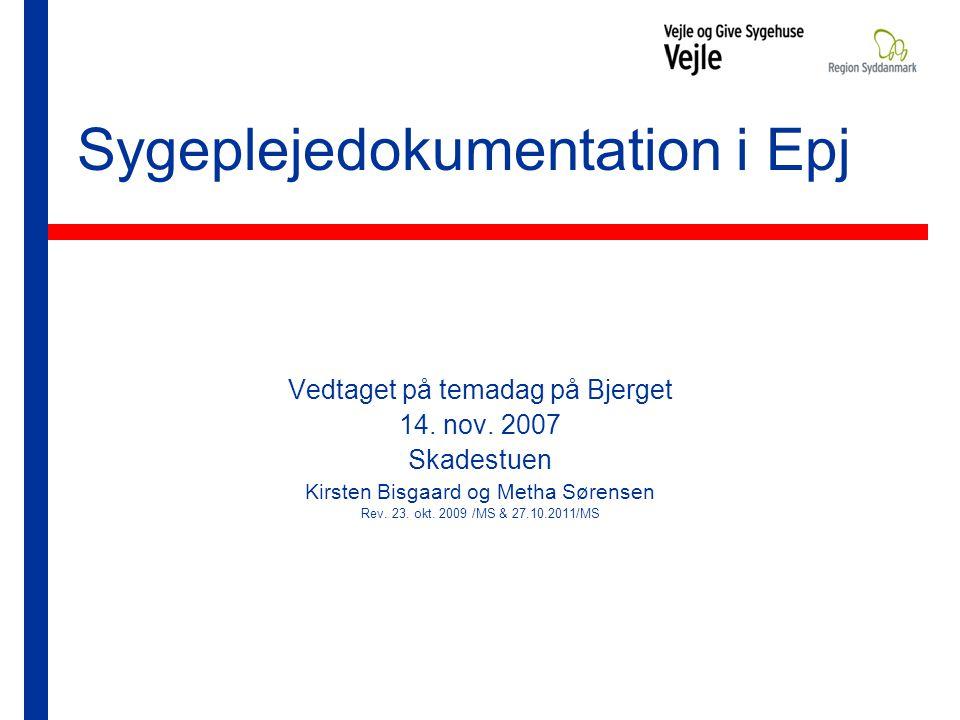 Sygeplejedokumentation i Epj Vedtaget på temadag på Bjerget 14.
