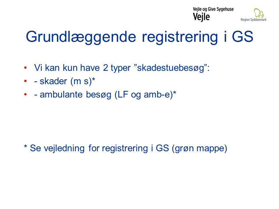 Grundlæggende registrering i GS Vi kan kun have 2 typer skadestuebesøg : - skader (m s)* - ambulante besøg (LF og amb-e)* * Se vejledning for registrering i GS (grøn mappe)