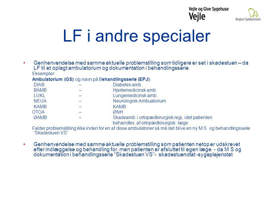 LF i andre specialer Genhenvendelse med samme aktuelle problemstilling som tidligere er set i skadestuen – da LF til et oplagt ambulatorium og dokumentation i behandlingsserie.